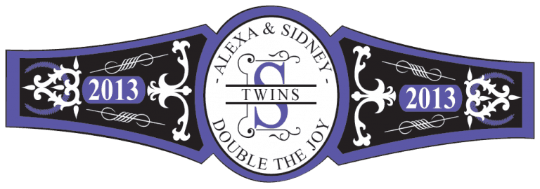 Baby Twins Cigar Band Template 06