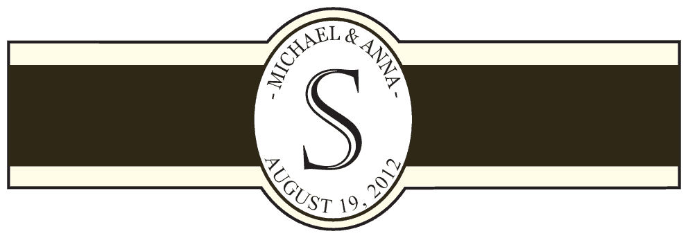 Wedding Cigar Band Template 52 - Personal Cigar Bands