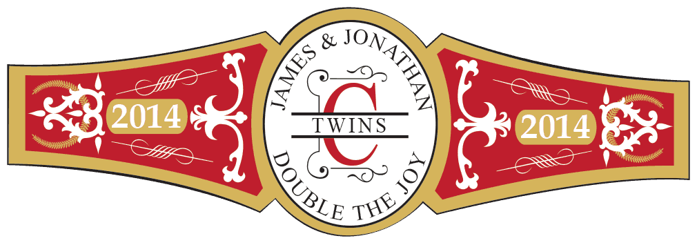 Baby Twins Cigar Band Template 08